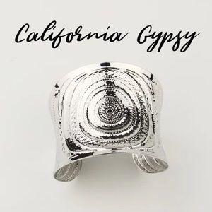 Gypsy bohemian silver cuff bracelet